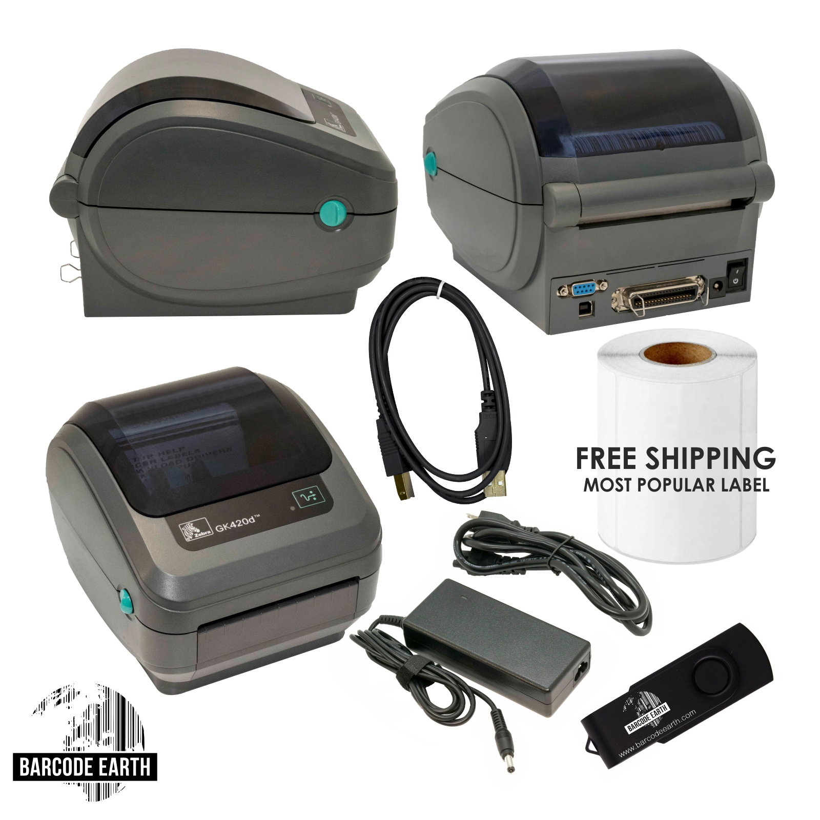 Zebra GK420d Direct Thermal Shipping Label Printer +1000 labels!
