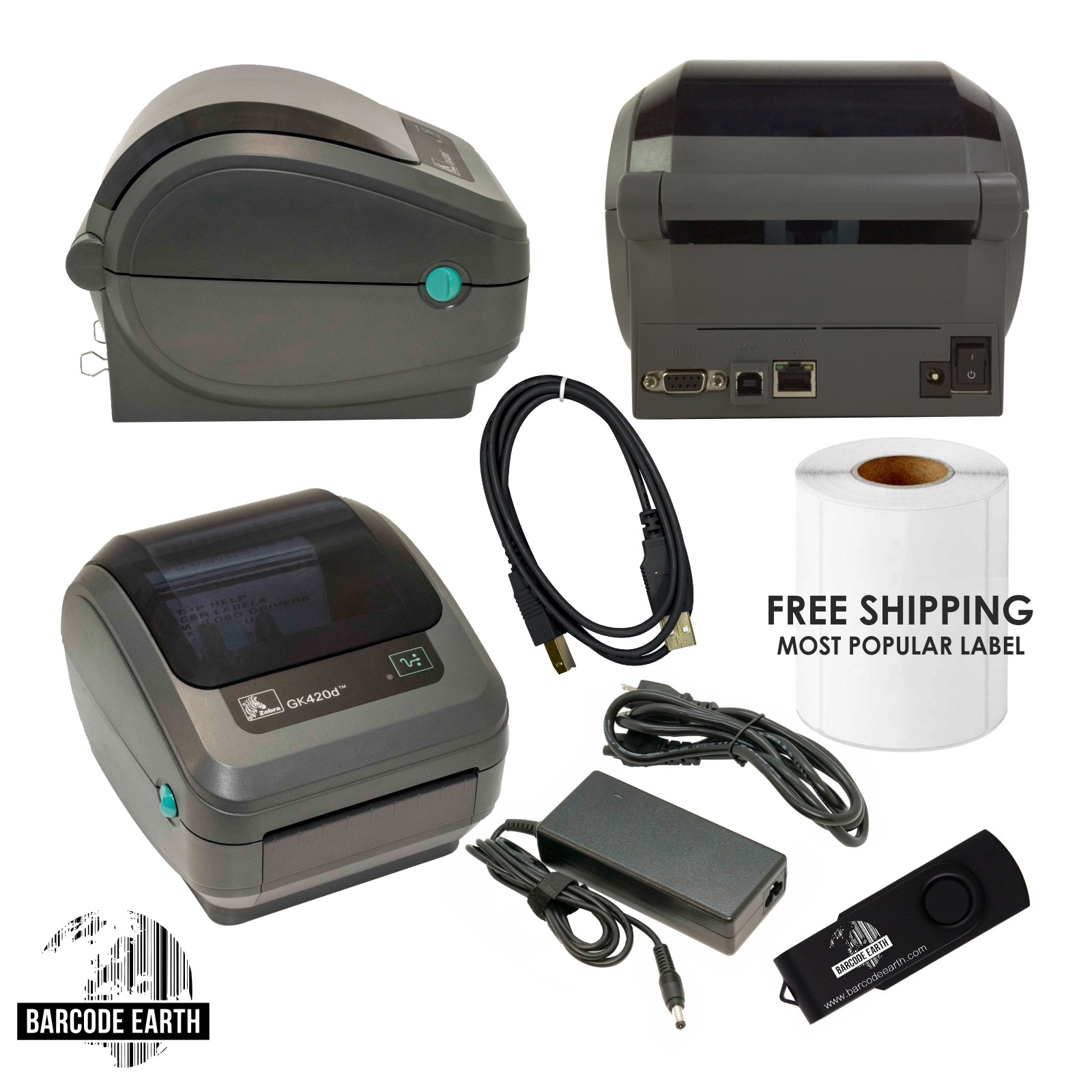 Zebra GK420D Label Thermal Printer, Ethernet & USB, Power Supply, USB Cable