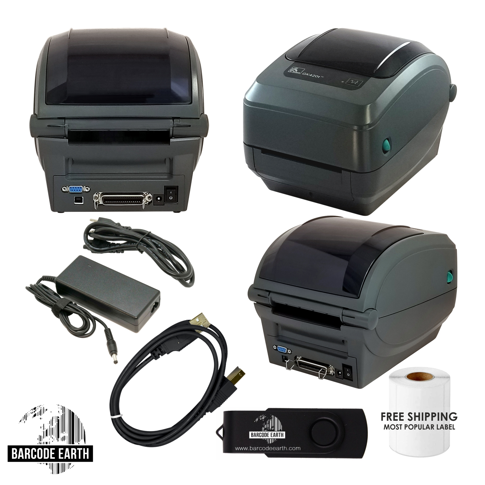 Zebra GK420T Thermal Barcode Printer USB, Serial Parallel, Labels, & Driver